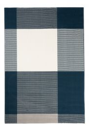 CAN Area Rug Modern Short Pile Geometric Chequered Navy Blue
