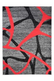 QMEGA Modern Area Rug Short Pile Abstract Lines Grey Red