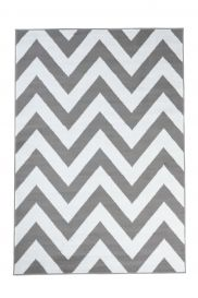 Luxury Teppich Kurzflor Weiß Grau Modern Geometrisch Zig Zag