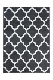 LUXURY Area Rug Modern Short Pile Trellis Moroccan Dark Grey White