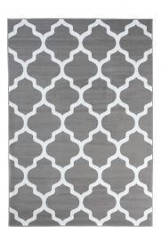 LUXURY Area Rug Modern Short Pile Trellis Moroccan Grey White