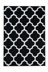 LUXURY Tapis Moderne Treillis Marrocain Noir Blanc Fin Doux