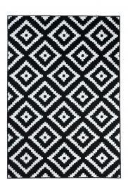 LUXURY Tapis Moderne Motif Marrocain Noir Blanc Fin Doux