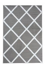 Luxury Teppich Kurzflor Grau Weiß Modern Karo Design