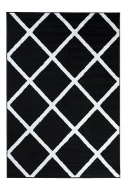 LUXURY Area Rug Modern Short Pile Geometric Black White