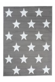 LUXURY Area Rug Modern Short Pile Stars Light Grey White Teenager