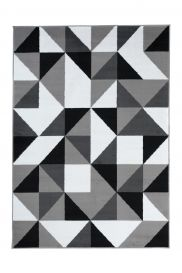 Luxury Teppich Kurzflor Weiß Schwarz Grau Geometrisch Dreiecke
