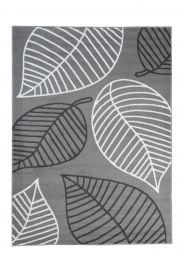 LUXURY Area Rug Modern Short Pile Autumn Leaves Grey White