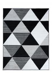 LUXURY Area Rug Modern Short Pile Big Triangles Black White