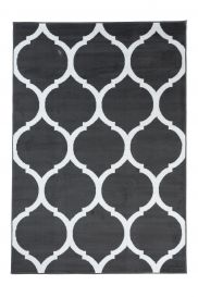 LUXURY Area Rug Modern Short Pile Round Trellis Dark Grey White