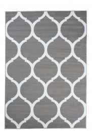 LUXURY Area Rug Modern Short Pile Round Trellis Grey White