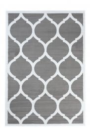 LUXURY Area Rug Modern Short Pile Round Trellis Frame Grey White