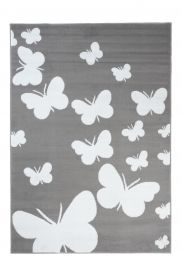 LUXURY Area Rug Modern Short Pile Butterfly Grey White Teenager