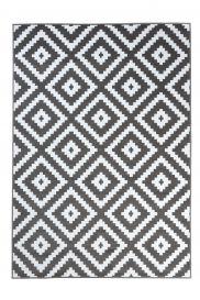 FIRE Teppich Kurzflor Modern Geometrisch Karo Weiss Grau