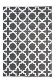 FIRE Teppich Kurzflor Modern Geometrisch Kleeblatt Weiss Grau