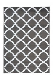FIRE 2018 Area Rug Modern Short Pile Trellis Moroccan Grey White