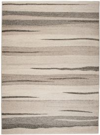 SARI Modern Area Rug Abstract Stripes Durable Grey Beige