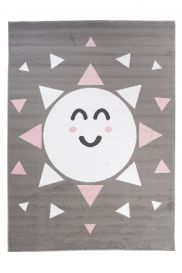 PINKY Area Rug Children Room Bedroom Play Mat Sun Grey