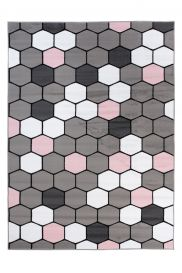 PIMKY Area Rug Modern Hexagon Grey Pink Durable Carpet