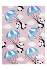 PINKY Area Rug Children Room Play Mat Panda Balloon Pink