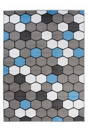 PIMKY Area Rug Modern Hexagon Grey Blue Durable Carpet