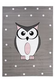 PINKY Area Rug Children Room Bedroom Play Mat Owl Grey