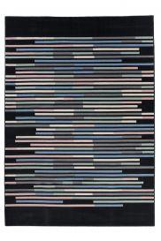 Canvas Teppich Wohnzimmer Kurzflor Modern Streifen Design Schwarz Mehrfarbig Jugendzimmer Schlafzimmer ÖKOTEX