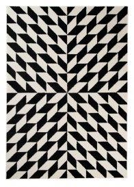 MAROKO Area Rug Modern Short Pile Geometric Illusion Cream Black