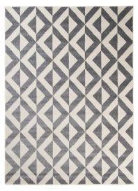 MAROKO Teppich Modern Kurzflor Geometrisch Kariert Grau Creme