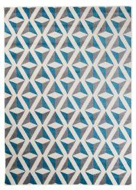 MAROKO Area Rug Modern Short Pile Abstract Geometric Cream Blue