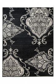 QMEGA Teppich Modern Kurzflor Schwarz Creme Floral Vintage