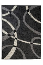 QMEGA Modern Area Rug Short Pile Abstract Lines Dark Grey