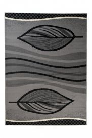 QMEGA Area Rug Modern Contemporary Leaf Autumn Waves Grey