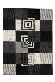QMEGA Area Rug Modern Geometric Square Light Dark Grey Black