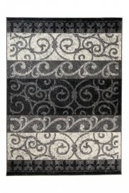 QMEGA Area Rug Modern Floral Ornamental Light Dark Grey Black