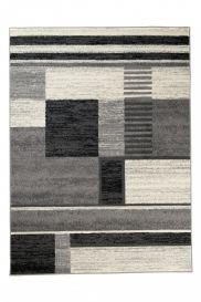 QMEGA Area Rug Modern Geometric Figures Light Dark Grey Black