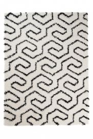 RIO NEW Vloerkleed Creme Zwart Abstract Modern Shaggy Interieur