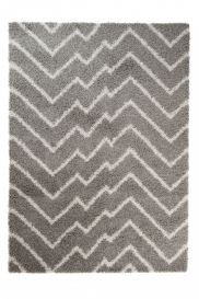 RIO NEW Modern Shaggy Area Rug Abstract ZigZag Light Grey