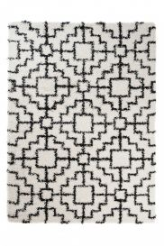 RIO NEW Modern Shaggy Area Rug Fluffy Geometric Mosaic White