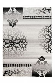 TANGO Vintage Area Rug Short Pile Ornamental Floral Grey Black