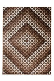 TANGO Modern Area Rug Short Pile Diamond Geometric Brown