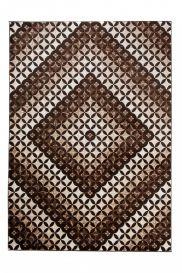 TANGO Modern Area Rug Short Pile Diamond Geometric Dark Brown
