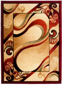 ANTOGYA Area Rug Modern Abstract Waves 3D-Effect Cream Red