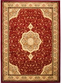 YESEMEK Area Rug Short Pile Traditional Classic Ornament Red