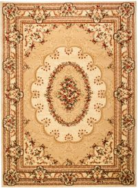 YESEMEK Area Rug Short Pile Traditional Classic Decorative Cream