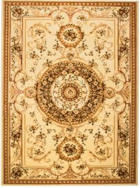 YESEMEK Area Rug Short Pile Traditional Decorative Ornament Cream