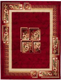ATLAS Area Rug Traditional Classic Greek Floral Burgundy Beige