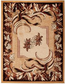 ATLAS Area Rug Modern Contemporary Short Pile Leaves Floral Beige