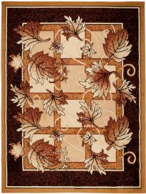ATLAS Area Rug Modern Contemporary Short Pile Leaves Beige Brown