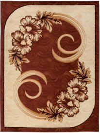 ATLAS Area Rug Modern Short Pile Floral Flowers Beige Brown